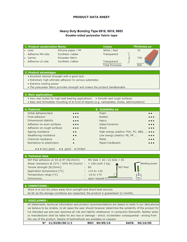 6918, 6919, 9885 Heavy Duty Bonding Tape Product Data Sheet
