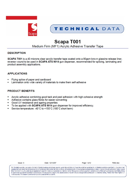 443, 444 Scapa Double Sided ATG Tape Technical Data Sheet