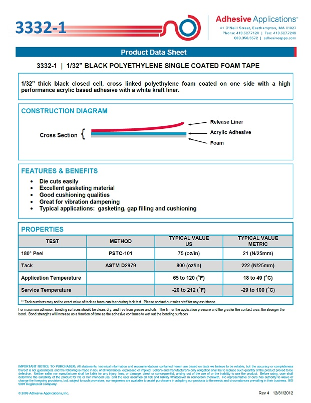 4793 Lineco Volara Rebate Foam Tape Product Data Sheet
