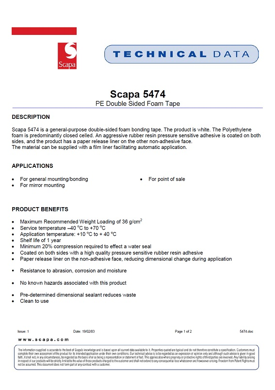 Scapa Double Sided Foam Tape Technical Data Sheet