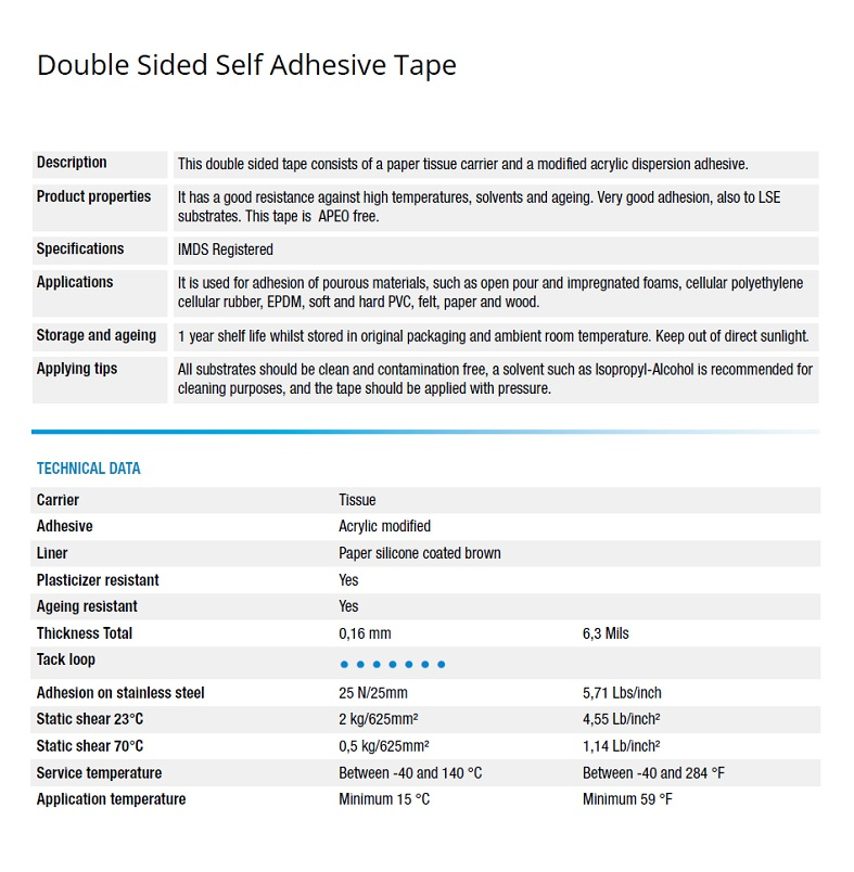 Double Sided Self Adhesive Tape SUB15