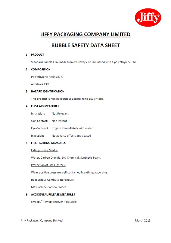 459, 460 Bubble Wrap MSDS