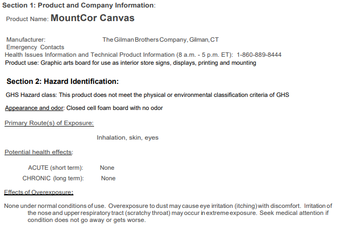 MountCor Canvas Safety Data Sheet
