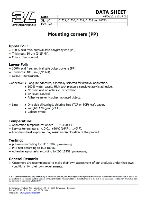 3397, 3595 Mounting Corners Data Sheet