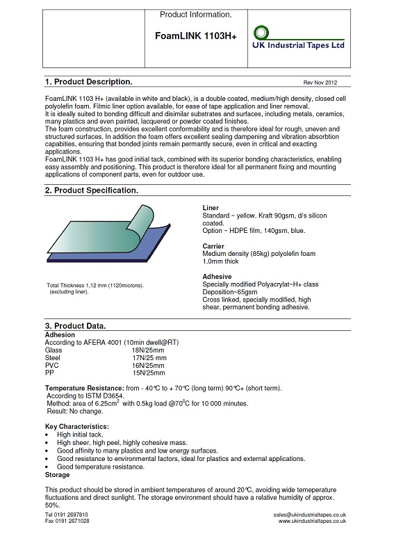 5124 Foam Tape Sticky Double-Sided Technical Data Sheet
